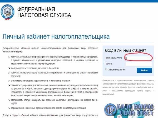 Налоговая Служба России - вход