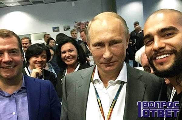 Портреты Путина и Тимати