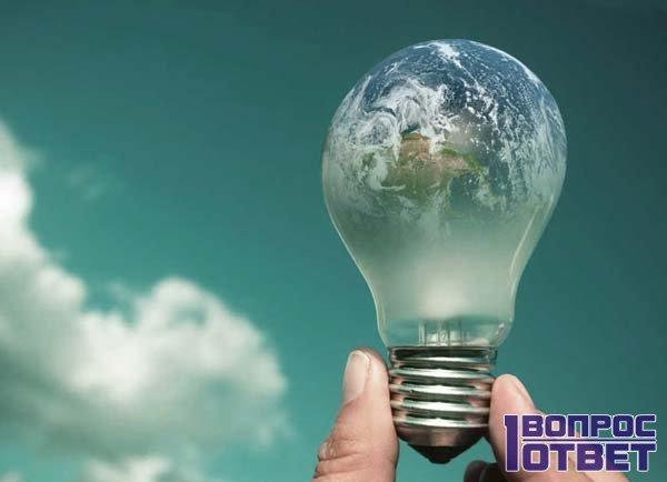 Земной шар в виде лампочки