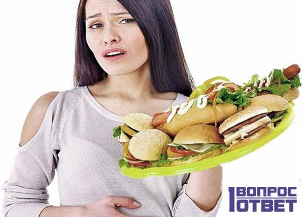 У девушки болит живот после еды