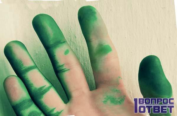 Зеленая кисть руки