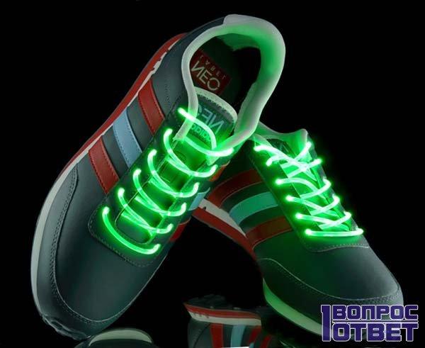 Готовые кроссовки со шнурками люминисцентными