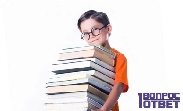 Мальчик несет учебники
