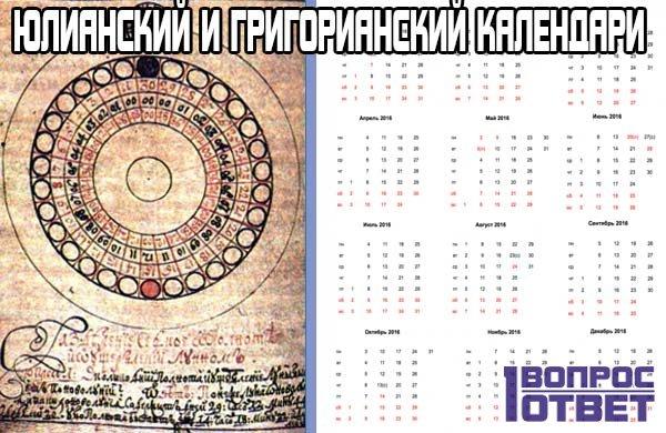 Юлианский и Григорианский календари - отличие от друг друга