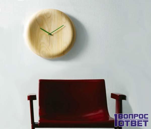 Настенные часы над креслом