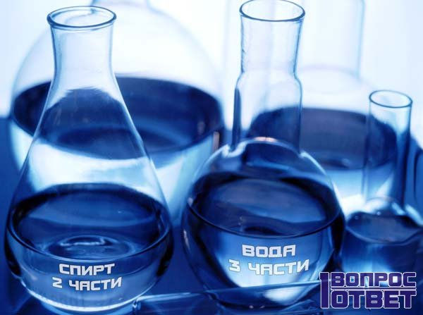 Пропорции спирта и воды: 2 к 3