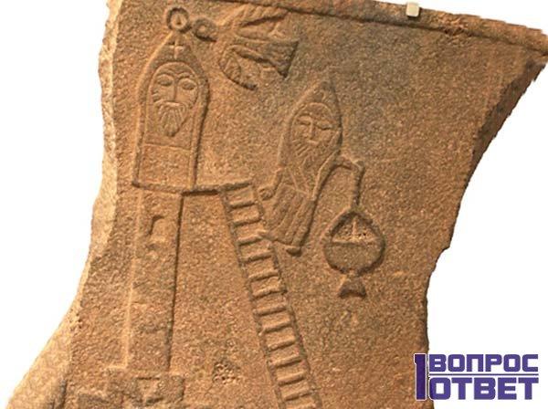 Изображение столпника на камне