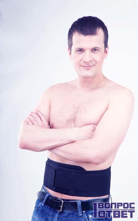 Турмалиновый пояс для спины у парня
