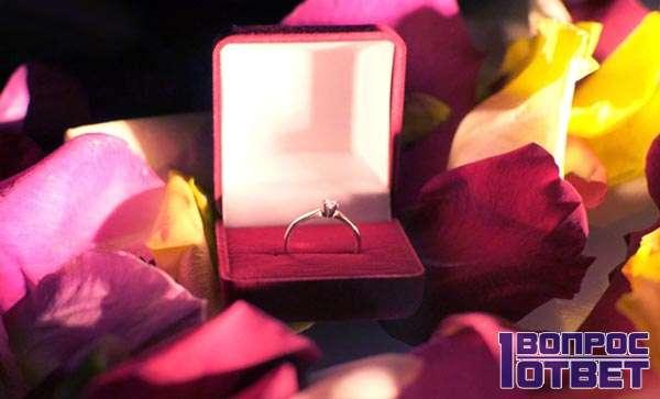 Обручальное кольцо на бархате