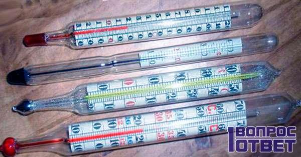 Несколько видов спиртовых термометров