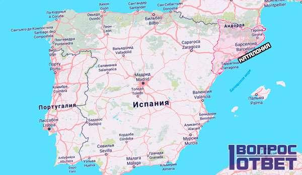 Каталония на карте Испании