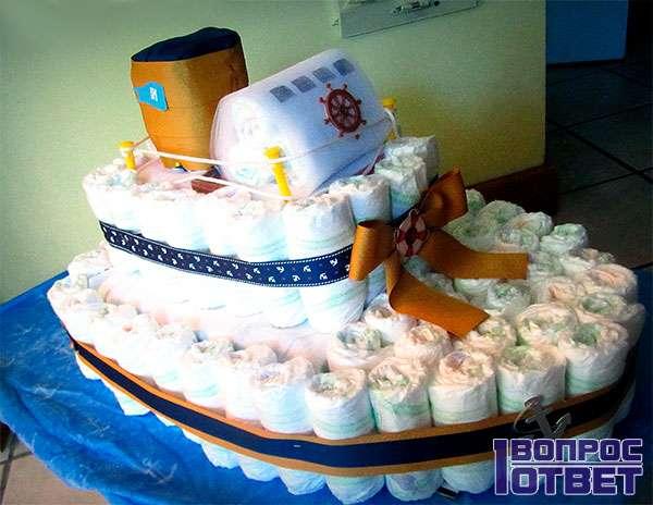 Торт из памперса для мальчика
