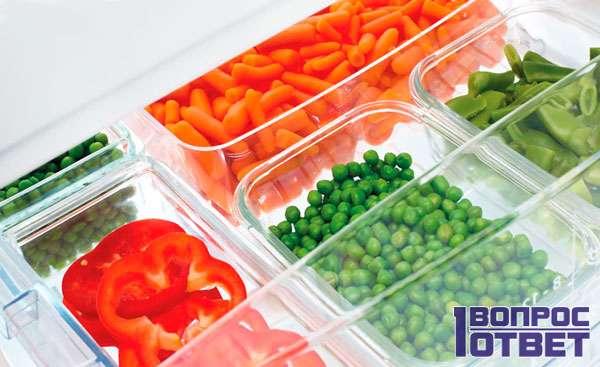овощи в морозильной камере