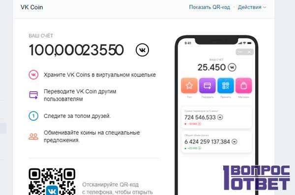 Виртуальный счет VK coin